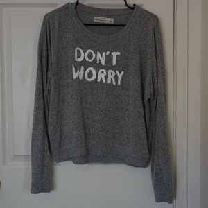 A&F Crop Grey Sweater with Letter Print